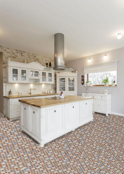 Cork Mosaic Color Mix Kitchen Floor