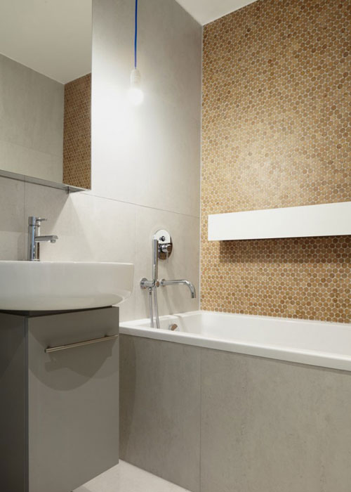 Cork Mosaic Tile Bath Wall