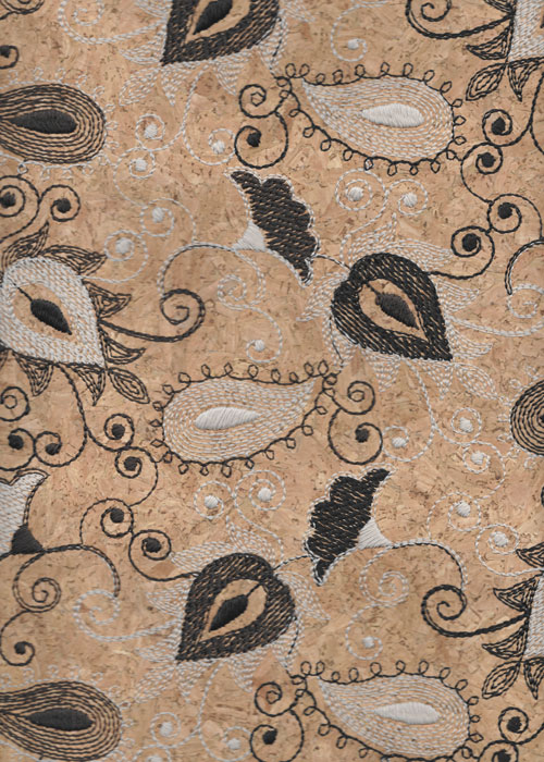 Embroidered Cork Fabric