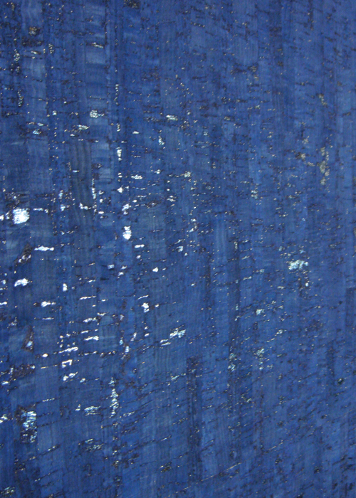 Minore Blue Metallic Cork Fabric
