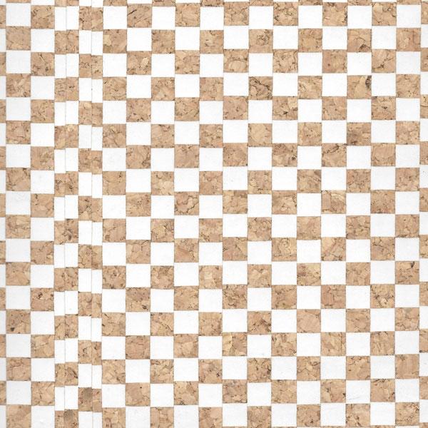 Micro Dama Bianca / White Checkered Cork Fabric