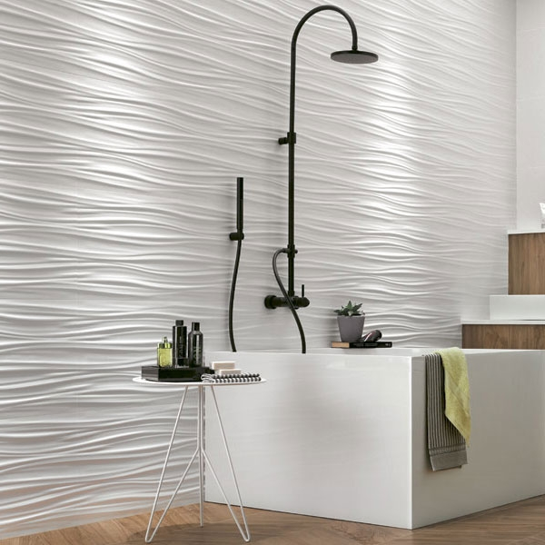 Ribbon White Matte 3D Tile
